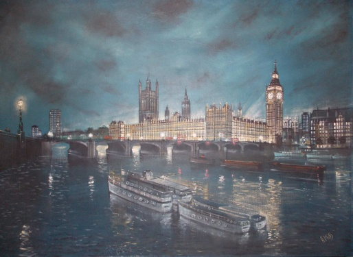 H Moss 'Night study of the illuminated Houses of Parliament and Big Ben from the