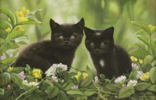 Mark Whittaker (b.1964) 'Kittens in a garden'