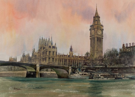 Matt Bruce (1915-2000) 'Big Ben & Houses of Parliament'