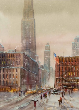 Michael Crawley (b.1938) 'Snowy Day Empire State New York'