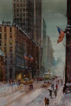 Michael Crawley (b.1938) 'Winter Down 5th Avenue, New York'.