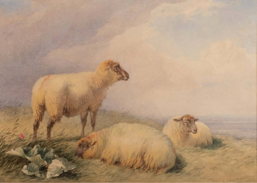 Thomas Francis Wainewright (1794-1883) Sheep in a landscape 1860