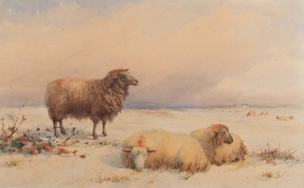 Thomas Francis Wainewright (1794-1883) 'Sheep in a landscape '1861