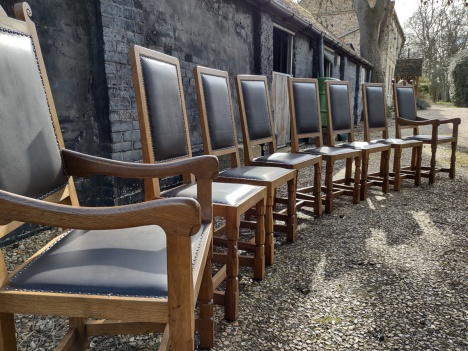 Robert Thompson 'Mouseman' 8 Harlequin Chairs
