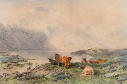 Frederick Tucker (1860-1935) 'Highland cattle resting