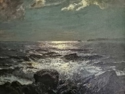 Julius Olsson RA (1864-1942) ' Moonlit waves on the shore with Godrevy Lighthouse, St.Ives,.'
