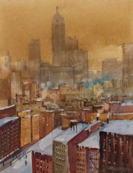 Michael Crawley (b.1938) 'The Singer building in winter from Brooklyn Bridge New York'