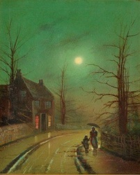 Wilfred Jenkins (1857-1936) 'Figures in a moonlight street'.