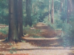 Ernest Gustave De Vleeschouwer (1897-1967) 'Pathway through the forest'
