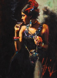 Fabian Perez (b.1967) 'Linda smoking under the light'